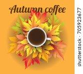 autumn coffee realistic vector... | Shutterstock .eps vector #705923677