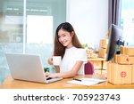 young asian girl freelancer... | Shutterstock . vector #705923743