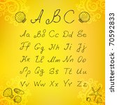 vector hands draw font. sea ... | Shutterstock .eps vector #70592833