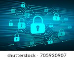 safety concept  closed padlock... | Shutterstock .eps vector #705930907