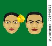 hawaiian people. man and woman. ...   Shutterstock .eps vector #705940513