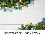 turquoise christmas banner ... | Shutterstock . vector #705949927