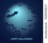 haunted happy halloween vector... | Shutterstock .eps vector #705953017