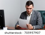 portrait of business man with... | Shutterstock . vector #705957907
