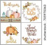 happy thanksgiving day with... | Shutterstock .eps vector #705970363
