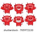 cute set of cartoon emoticon... | Shutterstock .eps vector #705972133