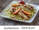 barbeque chicken with peach and ... | Shutterstock . vector #705976147