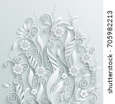 White Paper Floral Background...