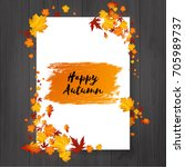 autumn flyer design with hand... | Shutterstock .eps vector #705989737