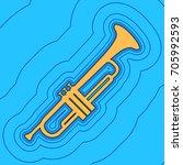 musical instrument trumpet sign.... | Shutterstock .eps vector #705992593
