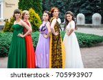 girl in colorful ball gowns... | Shutterstock . vector #705993907