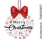 christmas ball done from icons... | Shutterstock . vector #706003807