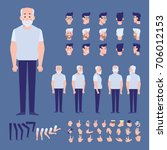 elderly man character creation... | Shutterstock .eps vector #706012153