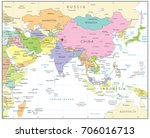 south asia political map... | Shutterstock .eps vector #706016713