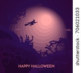 haunted happy halloween vector... | Shutterstock .eps vector #706021033