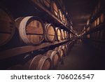 Wine Cellar With A Row Of...