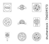 pizza assortment icons set