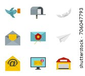 postal icons set. flat style... | Shutterstock .eps vector #706047793