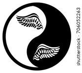black and white yin yang logo.... | Shutterstock .eps vector #706052263
