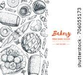 bakery illustration. vintage... | Shutterstock .eps vector #706055173