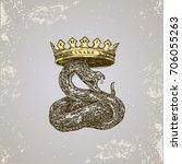 chinese horoscope. snake.... | Shutterstock .eps vector #706055263