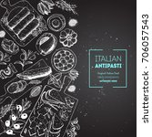 italian food top view poster. a ...   Shutterstock .eps vector #706057543