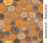 halloween pumpkins abstract... | Shutterstock .eps vector #706062433
