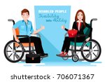happy disabled people in a... | Shutterstock .eps vector #706071367