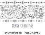 christmas vector hand drawn... | Shutterstock .eps vector #706072957