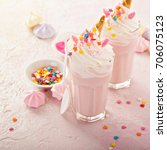 pink unicorn milkshakes with... | Shutterstock . vector #706075123