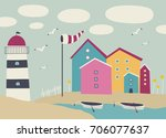 vector landscape with boats ... | Shutterstock .eps vector #706077637