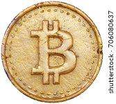 golden bitcoin isolated on...   Shutterstock . vector #706080637