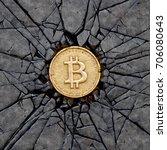 bitcoin breaking the rock. 3d...   Shutterstock . vector #706080643