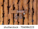 gate from wooden boards with... | Shutterstock . vector #706086223