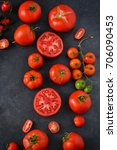 fresh  juicy tomatoes on a... | Shutterstock . vector #706090453