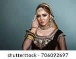 portrait of a beautiful elegant ... | Shutterstock . vector #706092697
