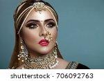 portrait of a beautiful elegant ... | Shutterstock . vector #706092763