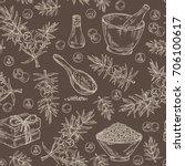 seamless pattern with juniper ... | Shutterstock .eps vector #706100617