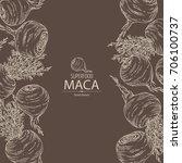 background with maca peruvian.... | Shutterstock .eps vector #706100737
