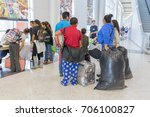 Small photo of Houston, Texas, August 30, 2017: Another shelter opens at NRG Center as refugees seek safety in Houston. New evacuees waiting to check in