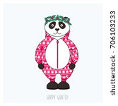 panda in red pajama with... | Shutterstock .eps vector #706103233