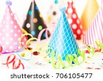 colorful party hats for kids... | Shutterstock . vector #706105477