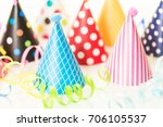 colorful party hats for kids... | Shutterstock . vector #706105537