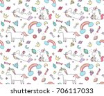 cute unicorn dreams pattern ... | Shutterstock .eps vector #706117033
