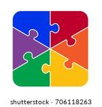 six part square puzzle | Shutterstock .eps vector #706118263