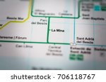 la mina  barcelona metro map. | Shutterstock . vector #706118767