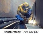 male  worker wearing protective ... | Shutterstock . vector #706139137