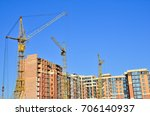 construction site with tower... | Shutterstock . vector #706140937