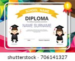 kids certificate in polygonal... | Shutterstock .eps vector #706141327
