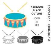 drum cartoon icon. illustration ... | Shutterstock .eps vector #706143073